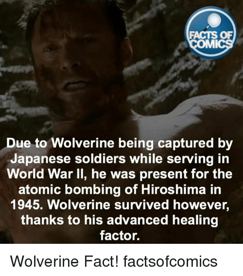 Facts, Memes, and Soldiers: FACTS OF  MMI  ue to Wolverine being captured by  Japanese soldiers while serving in  World War II, he was present for the  atomic bombing of Hiroshima in  1945. Wolverine survived however,  thanks to his advanced healing  factor. Wolverine Fact! factsofcomics