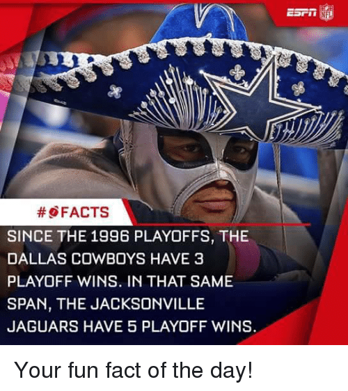 Dallas Cowboy: FACTS  SINCE THE 1996 PLAYOFFS, THE  DALLAS COWBOYS HAVE 3  PLAYOFF WINS. IN THAT SAME  SPAN, THE JACKSONVILLE  JAGUARS HAVE 5 PLAYOFF WINS. Your fun fact of the day!