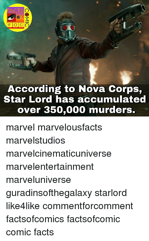 tso: FACTS  TSO  According to Nova Corps,  Star Lord has accumulated  over 350,000 murders. marvel marvelousfacts marvelstudios marvelcinematicuniverse marvelentertainment marveluniverse guradinsofthegalaxy starlord like4like commentforcomment factsofcomics factsofcomic comic facts