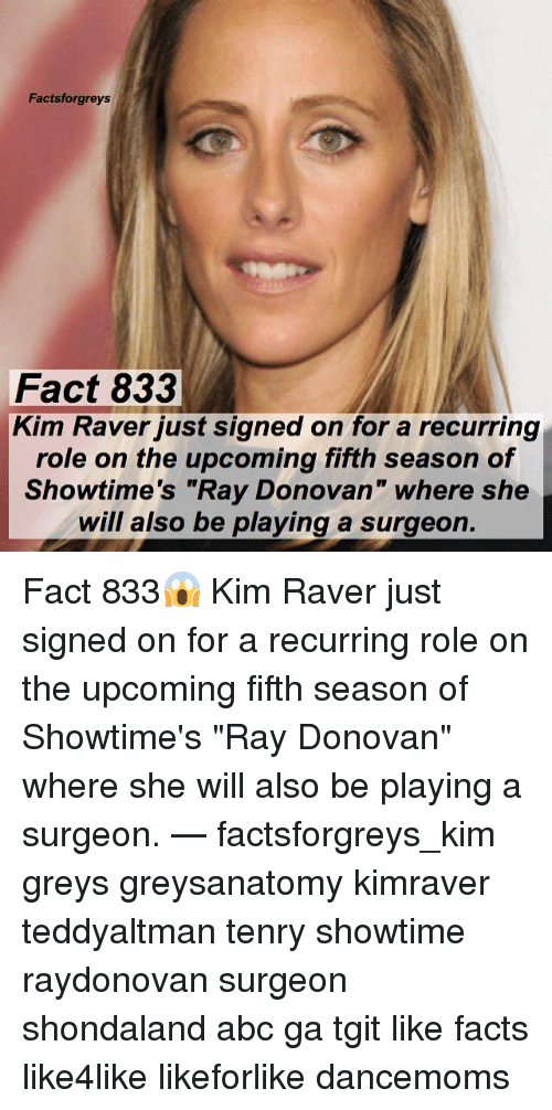"""Abc, Facts, and Memes: Factsforgreys  Fact 833  Kim Raver just signed on for a recurring  role on the upcoming fifth season of  Showtime's """"Ray Donovan"""" where she  will also be playing a surgeon. Fact 833😱 Kim Raver just signed on for a recurring role on the upcoming fifth season of Showtime's """"Ray Donovan"""" where she will also be playing a surgeon. — factsforgreys_kim greys greysanatomy kimraver teddyaltman tenry showtime raydonovan surgeon shondaland abc ga tgit like facts like4like likeforlike dancemoms"""
