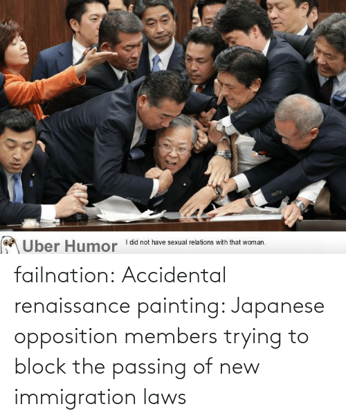 Japanese: failnation:  Accidental renaissance painting: Japanese opposition members trying to block the passing of new immigration laws