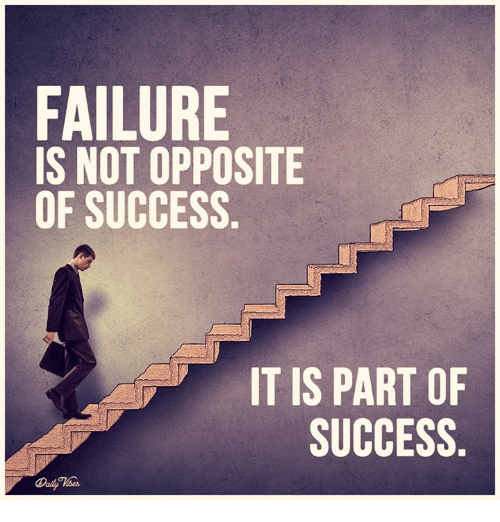 Inspirational Quotes About Failure: FAILURE IS NOT OPPOSITE OF SUCCESS IT IS PART OF SUCCESS