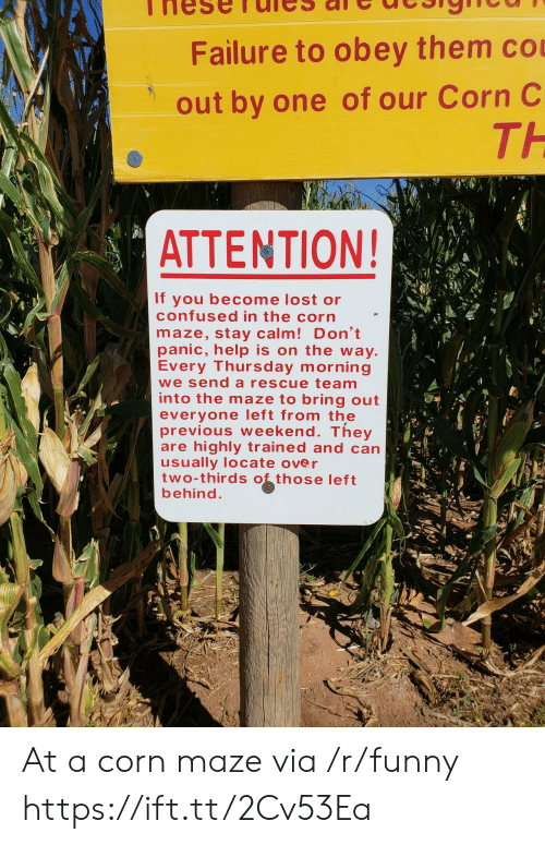 Confused, Funny, and Lost: Failure to obey them co  out by one of our Corn C  TH  ATTENTION!  If you become lost or  confused in the corn  maze, stay calm! Don't  panic, help is on the way  Every Thursday morning  we send a rescue team  into the maze to bring out  everyone left from the  previous weekend. They  are highly trained and can  usually locate over  two-thirds those left  behind At a corn maze via /r/funny https://ift.tt/2Cv53Ea