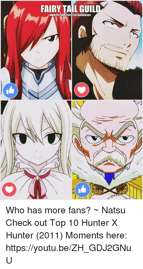 hunter x hunter: FAIRY TAIL GUILD  www.Fbcom Fair Tail,Guild4Ever Who has more fans?            ~ Natsu  Check out Top 10 Hunter X Hunter (2011) Moments here: ⋆↳https://youtu.be/ZH_GDJ2GNuU