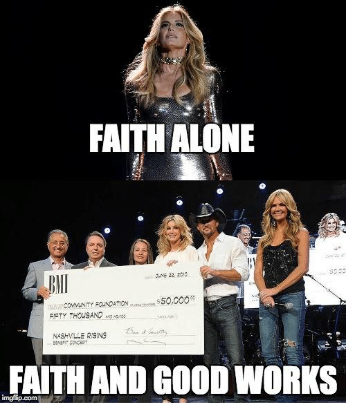 faith and good works Faith and works form two sides of a theological debate over the doctrine of salvation  genuine faith which leads to good works, and empty faith which is not faith.