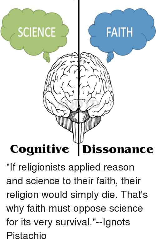 """Science, Faith, and Reason: FAITH  SCIENCE  Cognitive Dissonance """"If religionists applied reason and science to their faith, their religion would simply die. That's why faith must oppose science for its very survival.""""--Ignots Pistachio"""