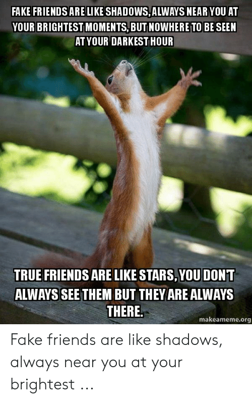 True Friends Meme: FAKE FRIENDS ARE LIKE SHADOWS,ALWAYS NEAR YOU AT  YOUR BRIGHTEST MOMENTS, BUT NOWHERE TO BE SEEN  AT YOUR DARKEST HOUR  TRUE FRIENDS ARE LIKE STARS,YOUDONT  ALWAYS SEE THEM BUT THEY ARE ALWAYS  THERE,  makeameme.org Fake friends are like shadows, always near you at your brightest ...