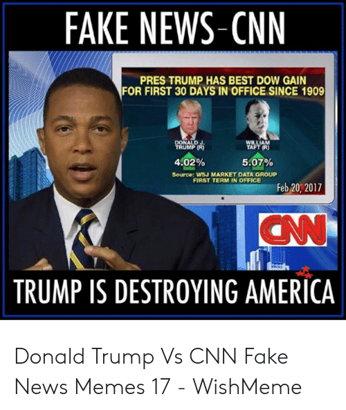 Cnn Fake: FAKE NEWS-CNN  PRES TRUMP HAS BEST DOW GAIN  FOR FIRST 30 DAYS IN OFFICE SINCE 1909  DONALD J  TRUMP (R  WILLIAM  TAFT (R)  4.02%  Source: WSJ MARKET DATA GROUP  5:07%  FIRST TERM IN OFFICE  Feb 20, 2017  TRUMP IS DESTROYING AMERICA Donald Trump Vs CNN Fake News Memes 17 - WishMeme