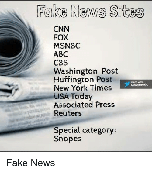 Abc, Fake, and New York: Fake News Sites  CNN  FOX  MSNBC  ABC  CBS  Washington Post  Huffington Post  made with  page modo  New York Times  USA Today  Associated Press  Reuters  Special category  Snopes Fake News