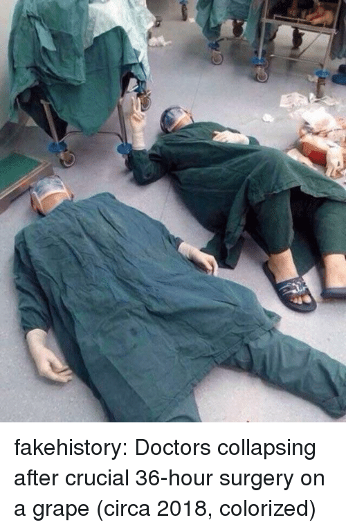 collapsing: fakehistory:  Doctors collapsing after crucial 36-hour surgery on a grape (circa 2018, colorized)