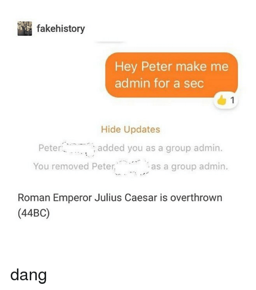 Memes, Julius Caesar, and Roman: fakehistory  Hey Peter make me  admin for a sec  1  Hide Updates  : added you as a group admin.  You removed Peteras a group admin.  Roman Emperor Julius Caesar is overthrown  (44BC) dang