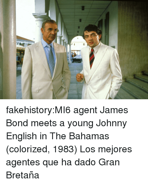 James Bond, Tumblr, and Bahamas: fakehistory:MI6 agent James Bond meets a young Johnny English in The Bahamas (colorized, 1983) Los mejores agentes que ha dado Gran Bretaña