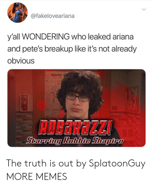 breakup: @fakeloveariana  y'all WONDERING who leaked ariana  and pete's breakup like it's not already  obvious  MEGA The truth is out by SplatoonGuy MORE MEMES
