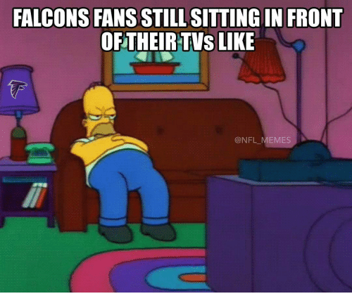 Falcons Fans: FALCONS FANS STILL SITTING IN FRONT  OF THEIR TVs  LIKE  @NFL MEMES