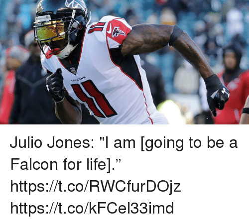 "Life, Memes, and 🤖: FALEDNS Julio Jones: ""I am [going to be a Falcon for life]."" https://t.co/RWCfurDOjz https://t.co/kFCel33imd"