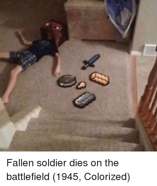 Fallen Soldier: Fallen soldier dies on the battlefield (1945, Colorized)