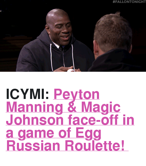"""Russian: <h2><b>ICYMI: </b><a href=""""https://www.youtube.com/watch?v=SRb3TmNYd90"""" target=""""_blank"""">Peyton Manning &amp; Magic Johnson face-off in a game of Egg Russian Roulette!</a></h2>"""