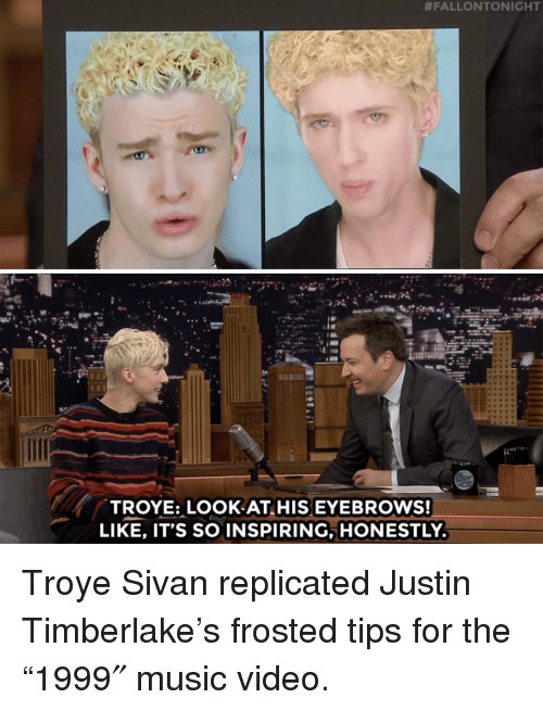 """Justin TImberlake:  #FALLONTONIGHT  ese  TROYE: LOOK AT HIS EYEBROWS!  LIKE, IT'S SO INSPIRING, HONESTLY Troye Sivan replicated Justin Timberlake's frosted tips for the """"1999″ music video."""