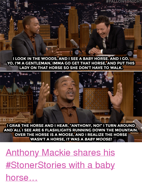 """Target, Yo, and youtube.com:  #FALLONTONIGHT  I LOOK IN THE WOODS, ANDISEE A BABY HORSE. AND I GO,  YO, I'M A GENTLEMAN, IMMA GO GET THAT HORSE AND PUT THIS  LADY ON THAT HORSE SO SHE DON'T HAVE TO WALK.  LB  I GRAB THE HORSE AND I HEAR, """"ANTHONY, NO!"""" I TURN AROUND  AND ALLI SEE ARE 6 FLASHLIGHTS RUNNING DOWN THE MOUNTAIN  OVER THE HORSE IS A MOOSE, ANDI REALIZE THE HORSE  WASN'T A HORSE, IT WAS A BABY MOOSE! <p><a href=""""https://www.youtube.com/watch?v=4m2JSlOuQu8"""" target=""""_blank"""">Anthony Mackie shares his #StonerStories with a baby horse…</a></p>"""