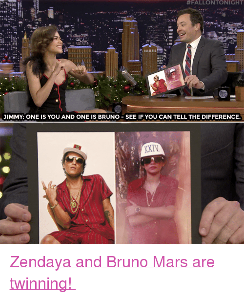 """Zendaya:  #FALLONTONIGHT  JIMMY: ONE IS YOU AND ONE IS BRUNO SEE IF YOU CAN TELL THE DIFFERENCE <p><a href=""""https://www.youtube.com/watch?v=xNvlaa5-vtI"""" target=""""_blank"""">Zendaya and Bruno Mars are twinning!</a></p>"""