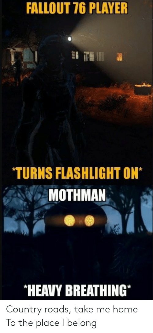 mothman: FALLOUT 76 PLAYER  TURNS FLASHLIGHT ON*  MOTHMAN  HEAVY BREATHING* Country roads, take me home To the place I belong