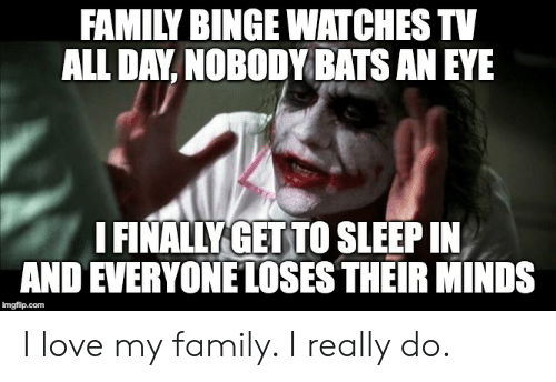 i love my family: FAMILY BINGE WATCHES TV  ALL DAY, NOBODY BATS AN EYE  I FINALLY GET TO SLEEP IN  AND EVERYONE LOSES THEIR MINDS  imgflip.com I love my family. I really do.