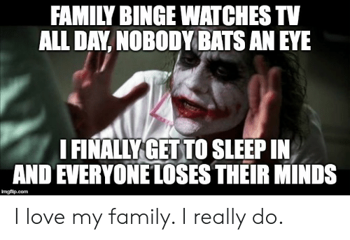 i love my family: FAMILY BINGE WATCHES TV  ALL DAY, NOBODY BATS AN EYE  I FINALLY GET TO SLEEP IN  AND EVERYONE LOSES THEIR MINDS  imgfilip.com I love my family. I really do.