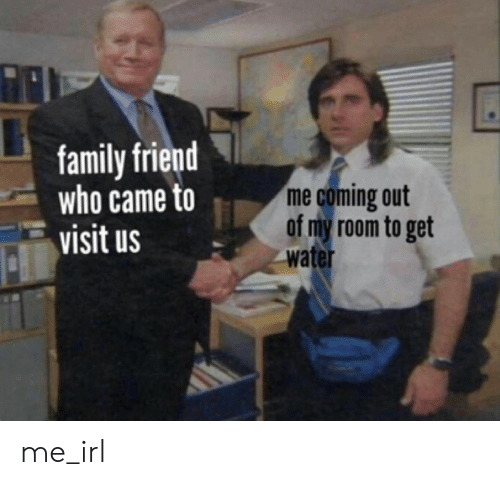 Who Came: family friend  who came to  visit us  me coming out  of my room to get  water me_irl