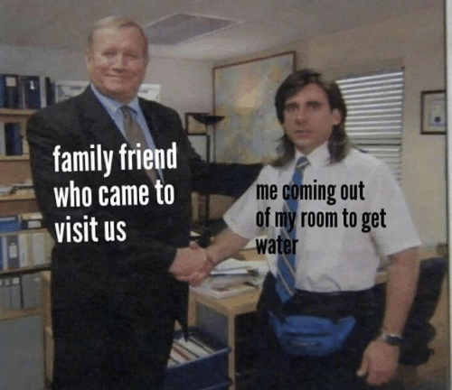 Coming Out: family friend  who came to  visit us  me coming out  of my room to get  water