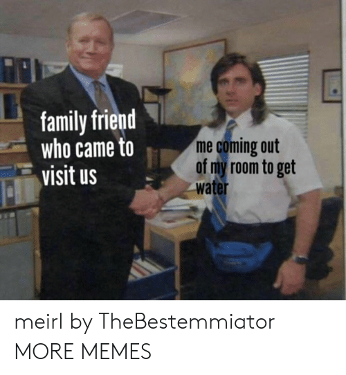Coming Out: family friend  who came to  visit us  me coming out  of my room to get  water meirl by TheBestemmiator MORE MEMES