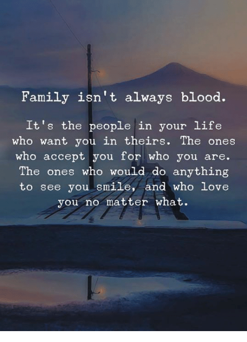 Family Isnt Always Blood: Family isn't always blood.  It's the people in your life  who want you in theirs. The ones  who accept you for who you are.  The ones who would do anything  to see you smile, and who Love  you no matter what.