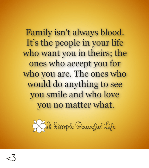 Family Isnt Always Blood: Family isn't always blood.  It's the people in your life  who want you in theirs; the  ones who accept you for  who you are. The ones who  would do anything to see  you smile and who love  you no matter what.  opteeacetu <3