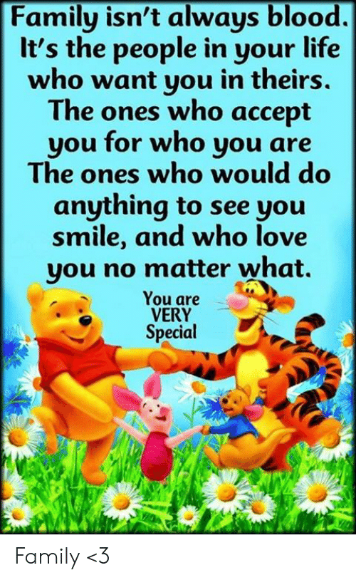 Family Isnt Always Blood: Family isn't always blood.  It's the people in your life  who want you in theirs.  The ones who accept  you for who you are  The ones who would do  anything to see you  smile, and who love  you no matter what.  You are  VERY  Special Family <3
