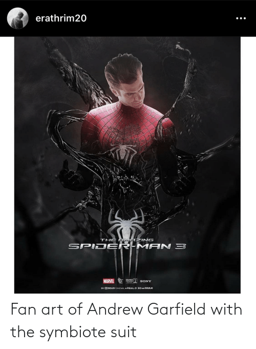 Andrew Garfield: Fan art of Andrew Garfield with the symbiote suit