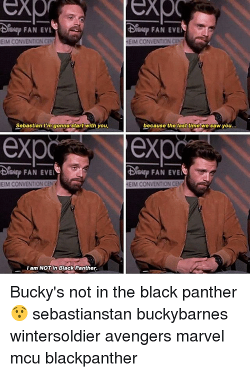 Memes, Saw, and Avengers: FAN EVL  Sislsp FAN EVE  EIM CONVENTION CEN  HEIM CONVENTION CE  Sobastian I'm gonnastart with you  bocause the lasttimo we saw you...  exp exp  FAN EVE  EIM CONVENTION CEN  HEIM CONVENTION CEN  I am NOT in Black Panther. Bucky's not in the black panther 😯 sebastianstan buckybarnes wintersoldier avengers marvel mcu blackpanther