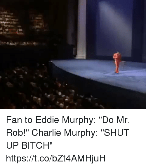 "Eddie Murphy: Fan to Eddie Murphy: ""Do Mr. Rob!""   Charlie Murphy: ""SHUT UP BITCH"" https://t.co/bZt4AMHjuH"