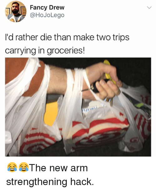 Drewing: Fancy Drew  @HoJoLego  I'd rather die than make two trips  carrying in groceries!  Ap 😂😂The new arm strengthening hack.