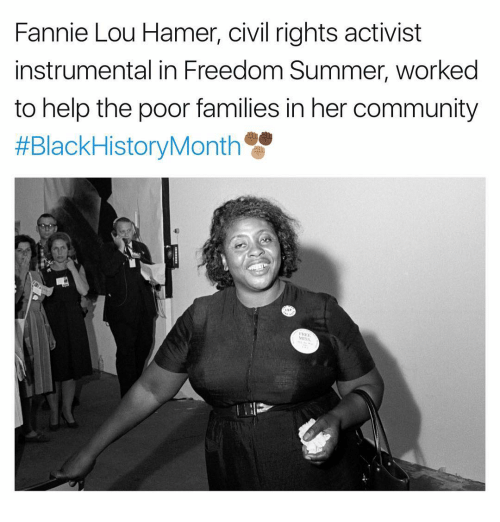 Fannie Lou Hamer: Fannie Lou Hamer, civil rights activist  instrumental in Freedom Summer, worked  to help the poor families in her community