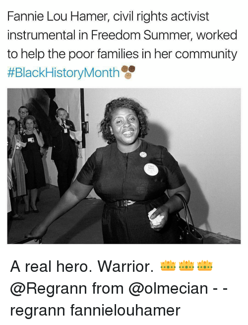 Fannie Lou Hamer: Fannie Lou Hamer, civil rights activist  instrumental in Freedom Summer, worked  to help the poor families in her community  #Black History Month A real hero. Warrior. 👑👑👑 @Regrann from @olmecian - - regrann fannielouhamer