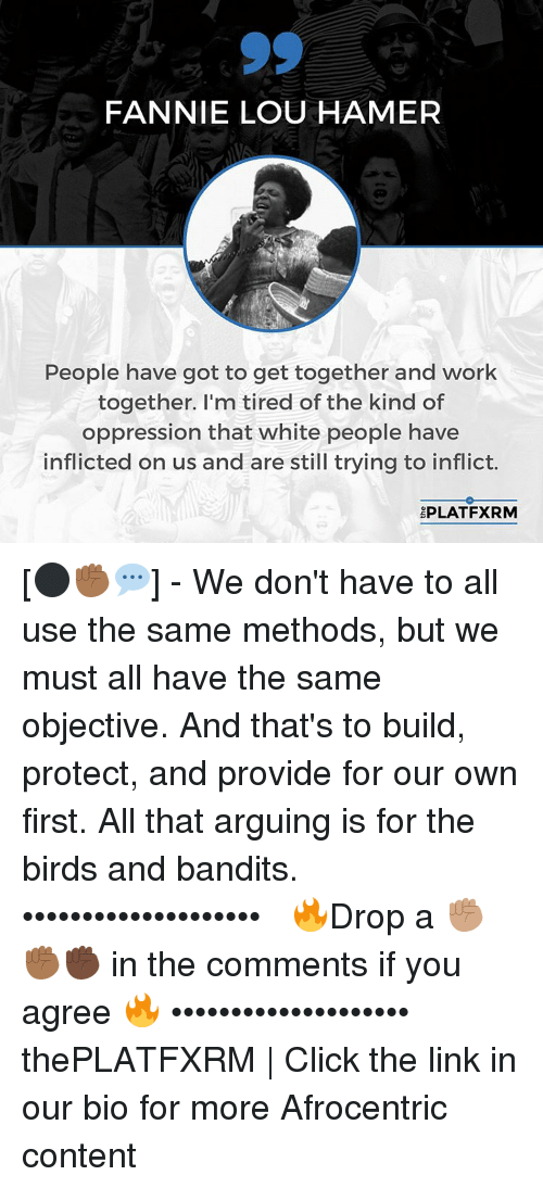 Fannie Lou Hamer: FANNIE LOU HAMER  People have got to get together and work  together. I'm tired of the kind of  oppression that white people have  inflicted on us and are still trying to inflict.  PLATFXRM [⚫️✊🏾💬] - We don't have to all use the same methods, but we must all have the same objective. And that's to build, protect, and provide for our own first. All that arguing is for the birds and bandits.⠀ ••••••••••••••••••••⠀⠀ 🔥Drop a ✊🏽✊🏾✊🏿 in the comments if you agree 🔥⠀⠀ ••••••••••••••••••••⠀⠀ thePLATFXRM | Click the link in our bio for more Afrocentric content