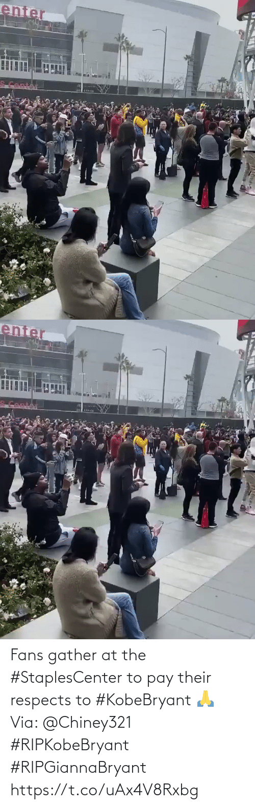 Respects: Fans gather at the #StaplesCenter to pay their respects to #KobeBryant 🙏 Via: @Chiney321 #RIPKobeBryant #RIPGiannaBryant https://t.co/uAx4V8Rxbg