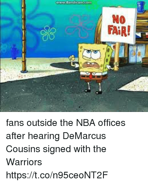 DeMarcus Cousins, Nba, and SpongeBob: fans outside the NBA offices after hearing DeMarcus Cousins signed with the Warriors https://t.co/n95ceoNT2F