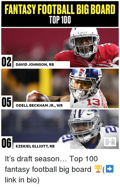 Anaconda, Fantasy Football, and Football: FANTASY FOOTBALL BIG BOARD  TOP 100  DAVID JOHNSON, RB  05  ODELL BECKHAM JR., WR  06  B R  EZEKIEL ELLIOTT, RB It's draft season… Top 100 fantasy football big board 🏆(➡️link in bio)