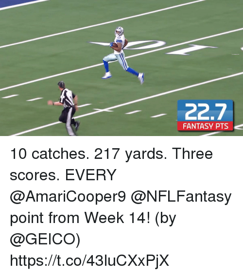 geico: FANTASY PTS 10 catches. 217 yards. Three scores.   EVERY @AmariCooper9 @NFLFantasy point from Week 14! (by @GEICO) https://t.co/43luCXxPjX