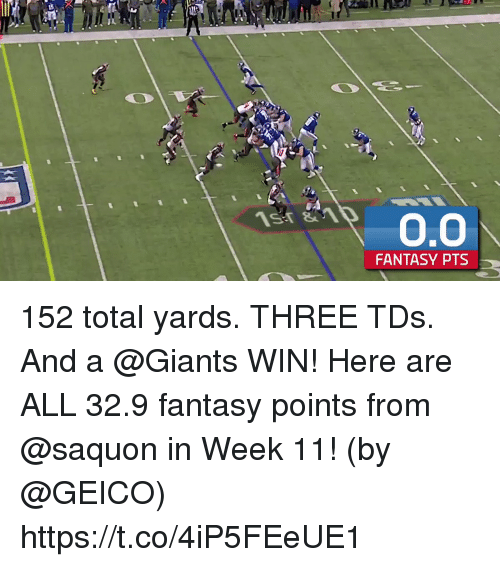 geico: FANTASY PTS 152 total yards. THREE TDs. And a @Giants WIN!  Here are ALL 32.9 fantasy points from @saquon in Week 11! (by @GEICO) https://t.co/4iP5FEeUE1