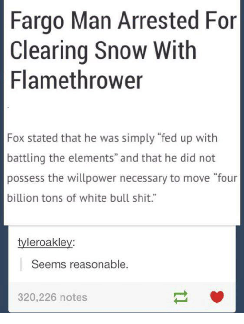 """Funny: Fargo Man Arrested For  Clearing Snow With  Flamethrower  Fox stated that he was simply """"fed up with  battling the elements"""" and that he did not  possess the willpower necessary to move """"four  billion tons of white bull shit.""""  tyleroakley:  Seems reasonable.  320,226 notes"""
