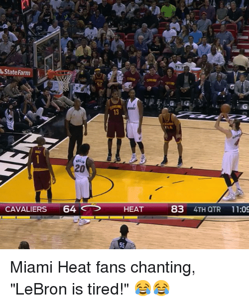 "Miami Heat, Sports, and Cavaliers: Farm  State CAVALIERS  64  HEAT  83  4TH QTR 11:09 Miami Heat fans chanting, ""LeBron is tired!"" 😂😂"