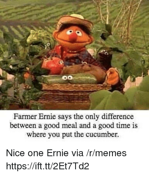 Ays: Farmer Ernie s  ays the only difference  between a good meal and a good time is  where you put the cucumber. Nice one Ernie via /r/memes https://ift.tt/2Et7Td2