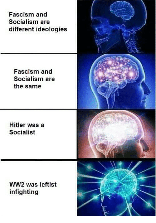 Memes, Hitler, and Socialism: Fascism and  Socialism are  different ideologies  Fascism and  Socialism are  the same  Hitler was a  Socialist  WW2 was leftist  infighting
