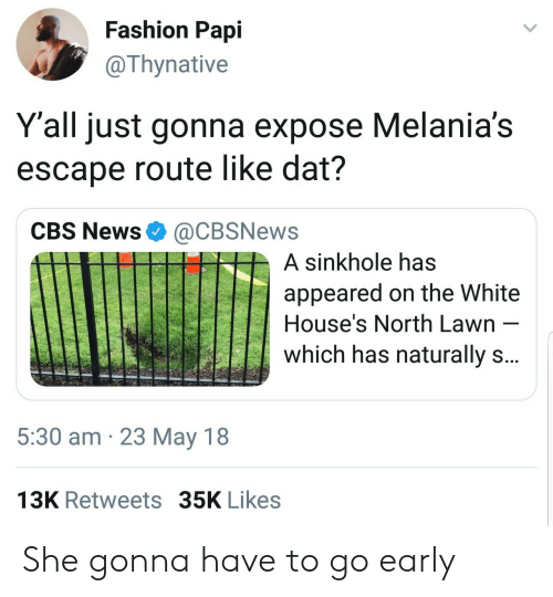 white houses: Fashion Papi  @Thynative  Y'all just gonna expose Melania's  escape route like dat?  CBS News@CBSNews  A sinkhole has  appeared on the White  House's North Lawn  which has naturally s  5:30 am 23 May 18  13K Retweets 35K Likes She gonna have to go early